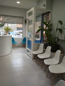 Sala de espera clínica veterinaria